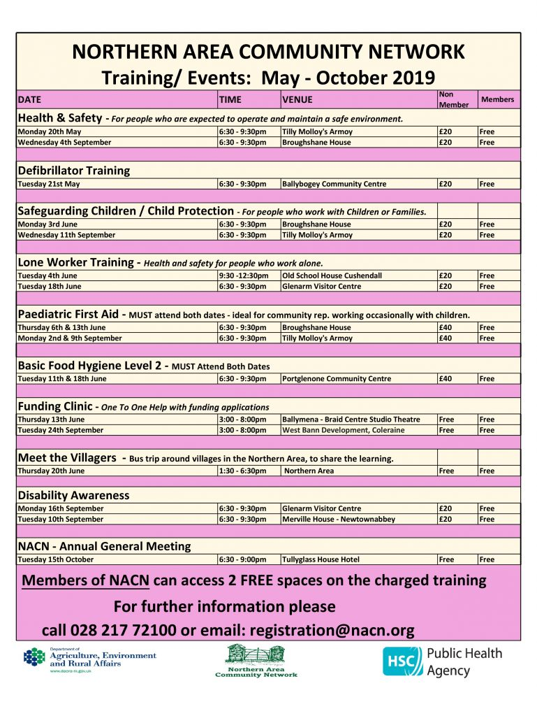 Training Events Calendar for May – Oct. 2019
